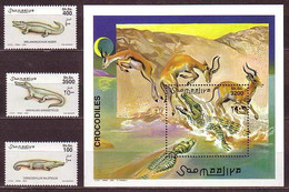 Crocodile Crocodiles Reptiles Animals Somalia MNH S/S+3 Stamps 2000 - Other