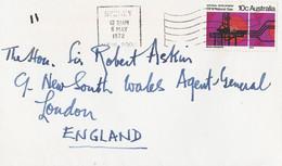 Australie Luchtpostbrief Uit 1972 Met 1 Zegel (1329) - Covers & Documents