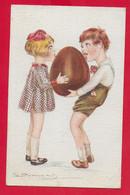 CARTOLINA VG ITALIA - BOMPARD ILLUSTRATA - Bambini Leccano Uovo Di Cioccolato - 9 X 14 - 1920 BRONI - Bompard, S.