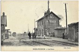 59 Nord EBBLINGHEM La Gare Départ Du Train 1917 TBE - Other Municipalities