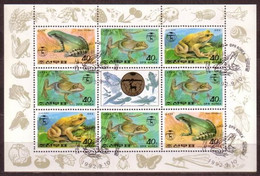 Frog Frogs And Toad Toads North Korea M/S Of 8 Stamps 1992 FROG11 - Frogs