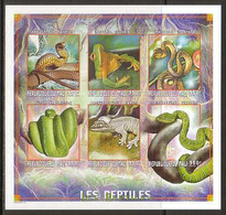 Snake Snakes Frog Frogs Reptiles Mali MNH Imperf M/S Of 6 Stamps 1999 - Snakes