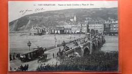 CPA. San Sebastian .Puente De Santa Catalina Y Playa De Gros.  (R1.947) - Guipúzcoa (San Sebastián)