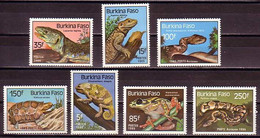 Snake Snakes Turtle Turtles Reptiles Burkina Faso MNH 7 Stamps 1985 - Snakes
