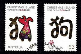 Christmas Island 2018 Year Of The Dog Set Of 2 Used - Christmas Island
