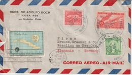 Cuba 1958 Lettre Par Avion Pour L'Allemagne - Covers & Documents