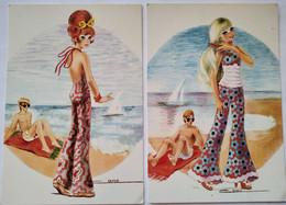 Lot 2 CPSM Vintage Années 70 - MODE - Pantalons Pattes D'éléphants  - Illustration Signée Cano - TBE - Non Classificati