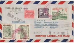Cuba 1957 Lettre Recommandée Par Avion Pour L'Allemagne - Covers & Documents