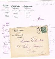 ENVELOPPE ET CONTENU  A EN-TETE CHIBOUST PATISSERIE RUE ST HONORE PARIS - 1877-1920: Periodo Semi Moderno