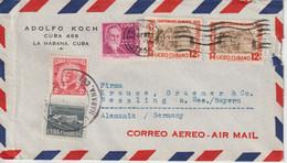 Cuba 1956 Lettre Par Avion Pour L'Allemagne - Covers & Documents
