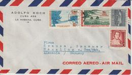 Cuba 1955 Lettre Par Avion Pour L'Allemagne - Covers & Documents