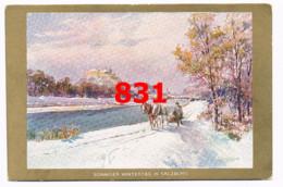 831 E.T.Compton Salzburg Wintertag Goldrand Künstlerkarte Rarität - Compton, E.T.