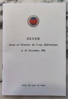 Dîner Du 24 Novembre 1981 Hôtel De Ville De Paris Allocution De Mr Jacques CHIRAC - Historical Documents