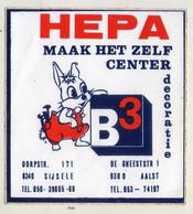 AUTOCOLLANT .  STICKER .  HEPA  DECORATIE . DORPSTRAAT 171 . SIJSELE . DE GHEESTSTRAAT 1  AALST - Stickers