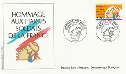 FDC 1989 HOMMAGE AUX HARKIS - 1980-1989