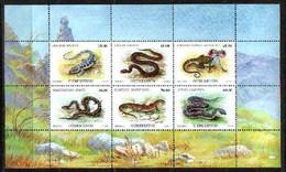 Snake Snakes Reptiles Uzbekistan MNH M/S Of 6 Stamps 1999 - Snakes