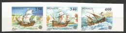 Monaco Yvert 1825/27 Série Complète Non-Dentelée Se-tenant En Bande 3 NSC / MNH / ** Europa 1992 Colomb Bateaux - 1992