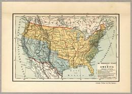 Original Antique Print 1898 USA Mexico Map - Geographical Maps