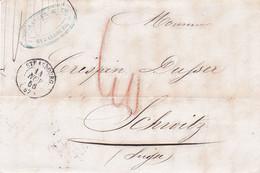 Pli En Port Dû De Keller & Cie Strasbourg 14/11/1856 Pour Schwyz Suisse Taxe Crayon 40 Par Bureau Français à Bâle Le 15 - 1849-1876: Klassik