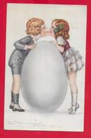 CARTOLINA VG ITALIA - BOMPARD ILLUSTRATA - Bambini Si Baciano Su Uovo Di Cioccolato - 9 X 14 - 1920 BRONI TASSATA - Bompard, S.