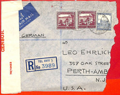 Aa2267  - PALESTINE - POSTAL HISTORY -  Censored REGISTERED COVER To  USA  1944 - Palestine