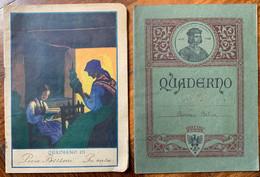 "2 QUADERNI Anni '30  "" I LAVORI D'INVERNO "" E "" UMBERTO III "" - Diplômes & Bulletins Scolaires"