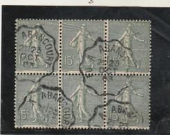 Yvert 130 Bloc De 6 Semeuse Lignée Cachet Convoyeur De Ligne Eu à Abancourt - 1903-60 Semeuse A Righe