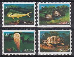 Turtle Turtles Fish Fishes Marine Life Malta MNH 4 Stamps 1979 - Turtles