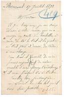 55 - BONCOURT - Lettre De F. Hannuy, Curé De Boncourt Passant Commande De Bouteilles à La Verrerie Des Islettes En 1893 - 1800 – 1899