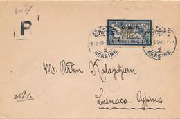 LETTRE RECOMMANDÉE 5F MERSON OMF MERSINE CILICIE LARNACA CHYPRE COVER TURKEY CYPRUS - Briefe U. Dokumente