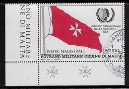 S.M.O.M. SOVRANO MILITARE ORDINE DI MALTA-198: Valore Obliterato Da 1 S. -ANNO INT.LE DELLA GIOVENTU'-in Ottime Cond - Malte (Ordre De)