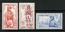 GUYANE 1941 N° 169/171 ** Neufs MNH TTB 170 Dent Courte  C 5.52 € Défense De L' Empire Infanterie Gendarme - Ungebraucht