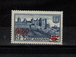 """FRANCE STAMP TIMBRE YVERT N° 490a """" CARCASSONNE VARIETE DOUBLE SURCHARGE 2F50 SUR 5F """" NEUF Xx TTB,SIGNE , RARE W262 - Curiosities: 1931-40 Mint/hinged"""