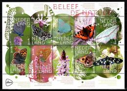 Nederland NVPH 3749-58 V3749-58 Vel Beleef De Natuur Vlinders 2019 Postfris MNH Netherlands Fauna - Unused Stamps