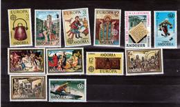 Andorre Espagnol 1975 1976 Année Complète 88 à 99  Neuf ** MNH Sin Charmela Cote 12.7 - Neufs