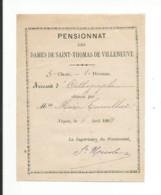 60 - NOYON - Pensionnat Des Dames De Saint Thomas De Villeneuve - Accessit - Diplômes & Bulletins Scolaires