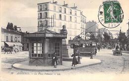 92 - ASNIERES Sur SEINE Place Voltaire TRAMWAY En Bon Plan à La Gare ( Cie Tramways Electriques ) CPA - Hauts De Seine - Asnieres Sur Seine
