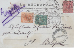 1898 Cartolina Viaggiata Per Espresso Da Imola A Bologna Con Affrancatura Tricolore. - Storia Postale