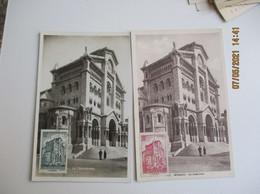 1943 Monaco  Lot De 2 Cathedrale 80 C Et 20 C     C M Cm Carte Maximum - Cartas Máxima