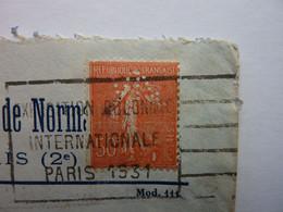 Timbre  Perforé  V N , Sté Des Impressions Des Vosges Et De Normandie, Obl. Sur Enveloppe 1931, RARE - Perfins