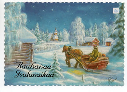 MODERN POSTCARD - UNICEF - POSTAL STATIONERY - FINLAND - CHRISTMAS - HORSE SLEIGH - USED  2000 - Unclassified