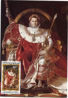 REPUBLIQUE TOGOLAISE CARTE MAXIMUM NAPOLEON SUR LE TRONE IMPERIAL EN COSTUME DE SACRE 1804 AVEC OBL LOME 28 AOUT 80 - Napoleon
