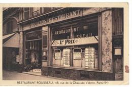 CPA  PARIS  Restaurant Rousseau  ,48 Rue De La Chaussée D'Antin - Cafés, Hôtels, Restaurants