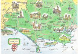 MAP OF DORSET,  ENGLAND. UNUSED POSTCARD Fg9 - Carte Geografiche