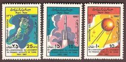 Afghanistan 1987 - 30th Anniversary Of Sputnik 1, Satellite, Space, Complete Set Of 3v MNH - Afghanistan
