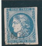 ///    FRANCE  ///    Cérés émission De Bordeaux 20cts Bleu Côte 130 N° 45A Type II Report 1 GRANDE DECHIRURE - 1870 Emissione Di Bordeaux