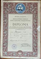 1936 DIPLOMA Scuola Secondaria REGNO D'ITALIA Grande Formato 26,5 X 38,5 - Diplômes & Bulletins Scolaires