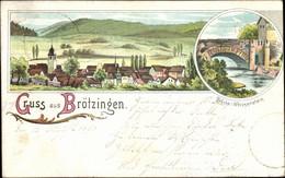 Lithographie Brötzingen Pforzheim Im Schwarzwald Bade Württemberg, Totalansicht, Brücke, Weissenstein - Other