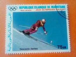 MAURITANIE - MAURITANIA - République Islamique De Mauritanie - Timbre 1988 : J.O. De Calgary - Descente Dames - Mauritania (1960-...)