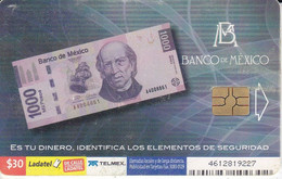 TARJETA DE MEXICO DE UN BILLETE DE 1000 PESOS (BILLETE-BANKNOTE) - Francobolli & Monete
